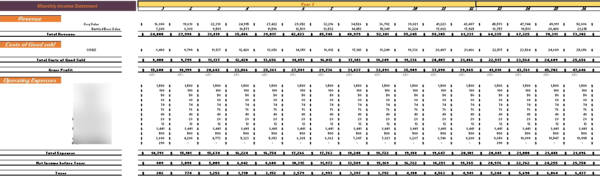 Brewery Financial Model Monthly Income Statement