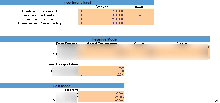 Cold Storage Financial Model Input