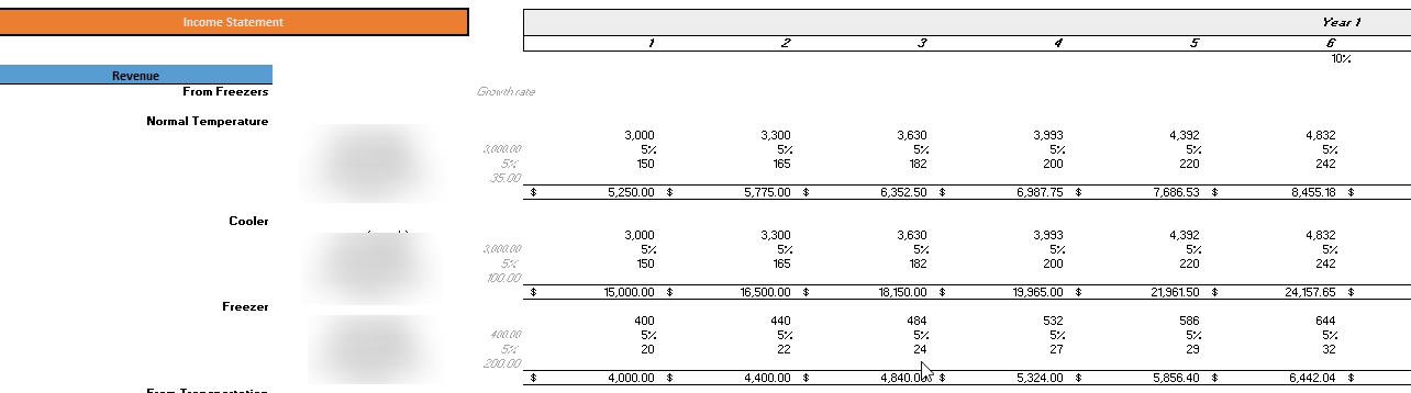 Cold Storage Financial Model Monthly Income Statement