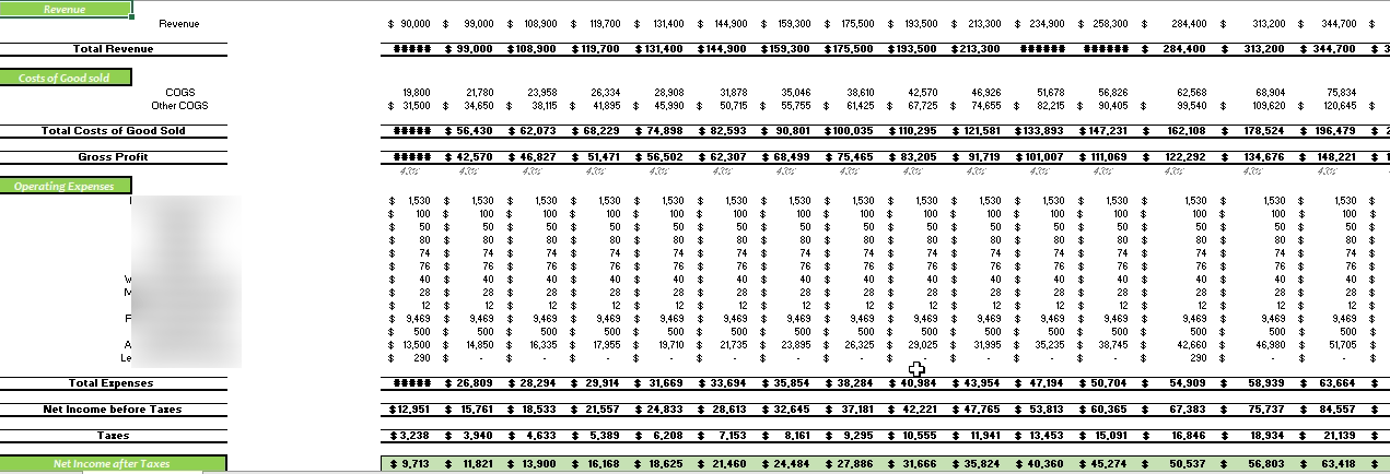 Kiosks Financial Model Monthly Income Statement