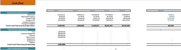 Online Grocery and Delivery Financial Model Cashflow