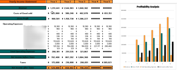 Restaurant Casual Financial Model Yearly Income Statement