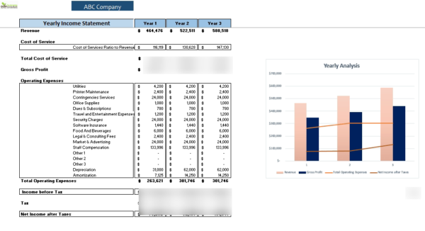 Co-working_Excel_financial_Model_Yearly_Income_Statement