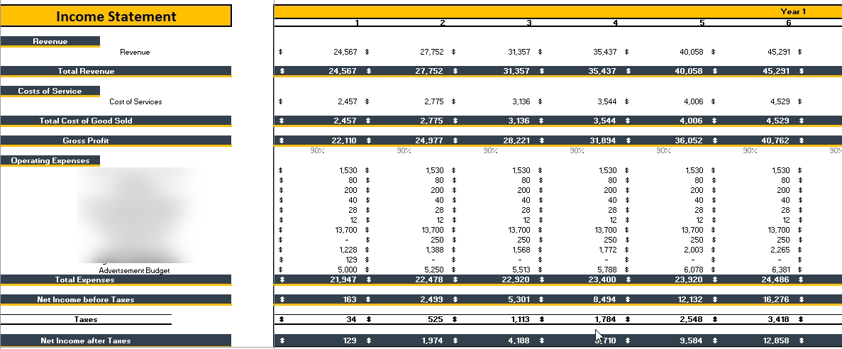 Phone, Tablet , Computer Repair Financial Model Monthly Income Statement