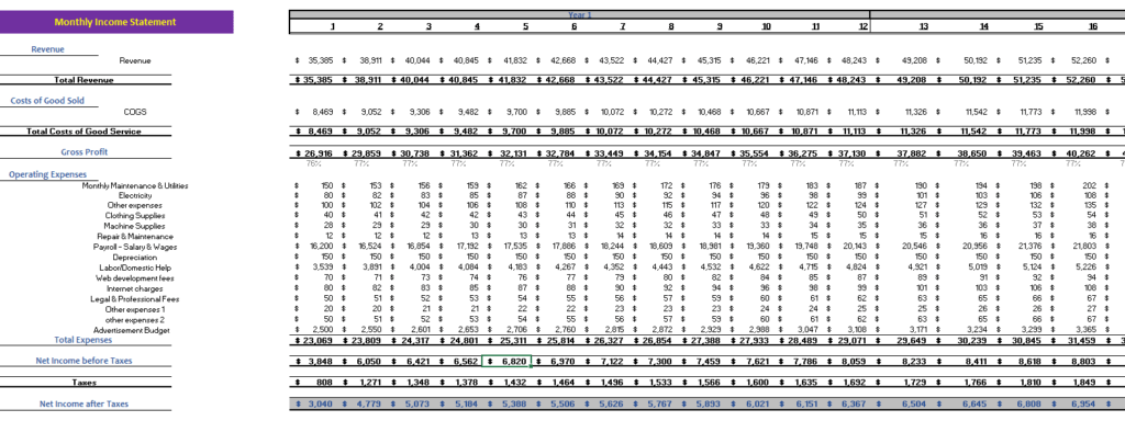Online_Book_Store_Excel_Financial_Model_Monthly_Income_Statement