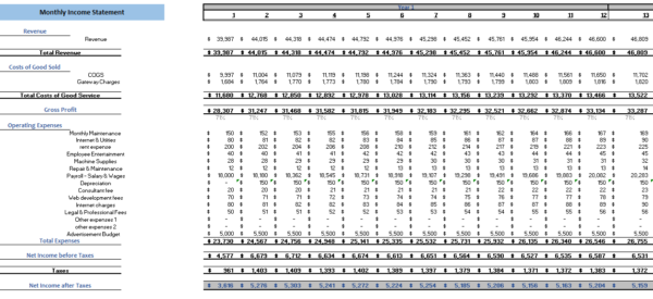 Online Toy Store Excel Finanaicial Model Monthly Income Statement