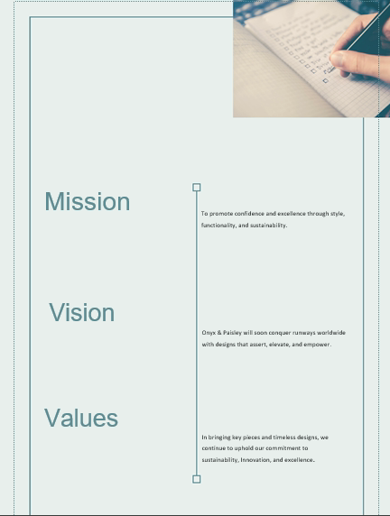 Wristwatch Business Plan Vision and Mission