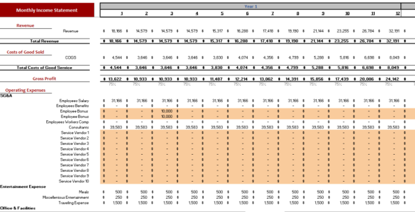 Cosmetic Products Excel Financial Model Monthly Income Statement