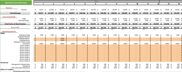 EFM Excel Financial Model Monthly Income Statement