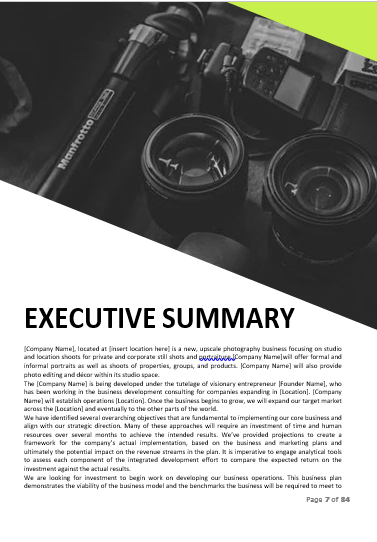 Photograhy Business Plan Executive Summary