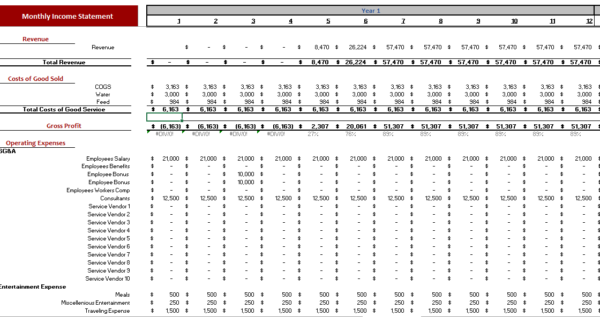 Poultry Farm Excel Financial Model Monthly Income Statement