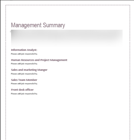 Spa Business Plan Management Summary