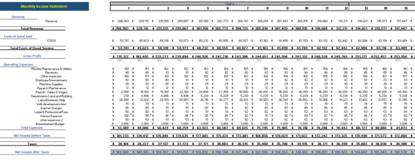 cleaning service excel financial model monthly income statement