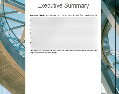Architecture Business Plan executive summary