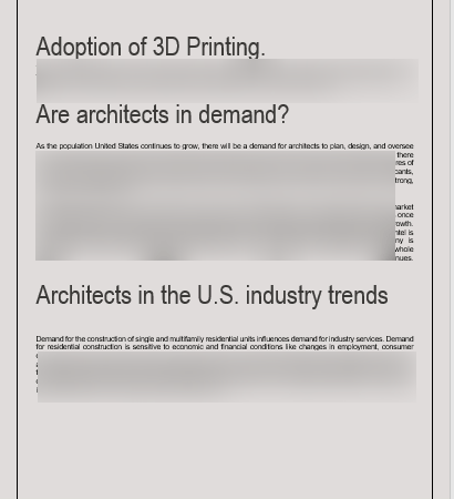 Architecture Business Plan industrial analysis