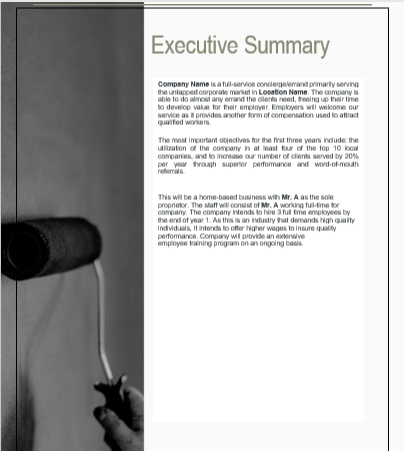 Errand service business plan Executive summary
