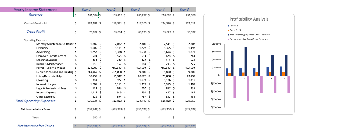 Circus Financial Model Yearly income statement