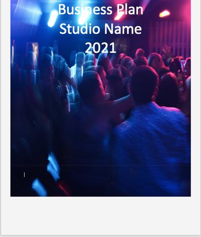 Dance studio Business Plan cover