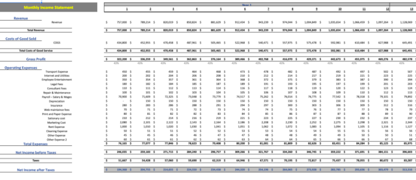 Errand Service Financial Model monthly income statement