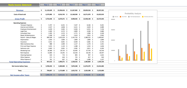 Errand Service Financial Model yearly income statement