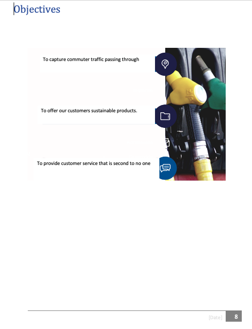 Gas station Business plan objectives