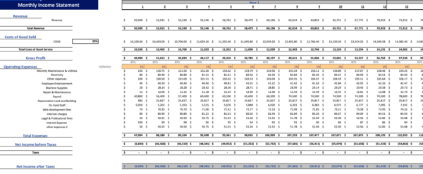 Gym financial model Monthly income statement