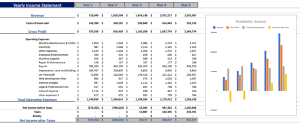 Gym financial model yearly income statement