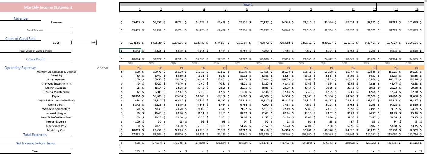 Music Festival financial model monthly income statement