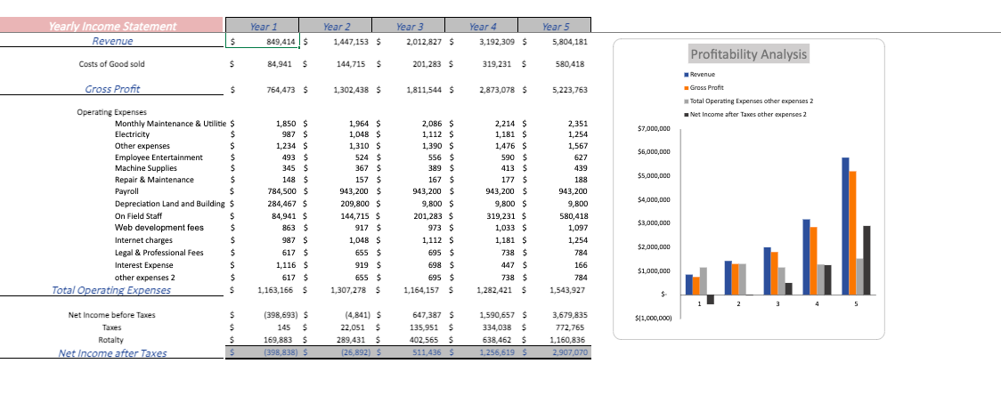 Music Festival financial model yearly income statement