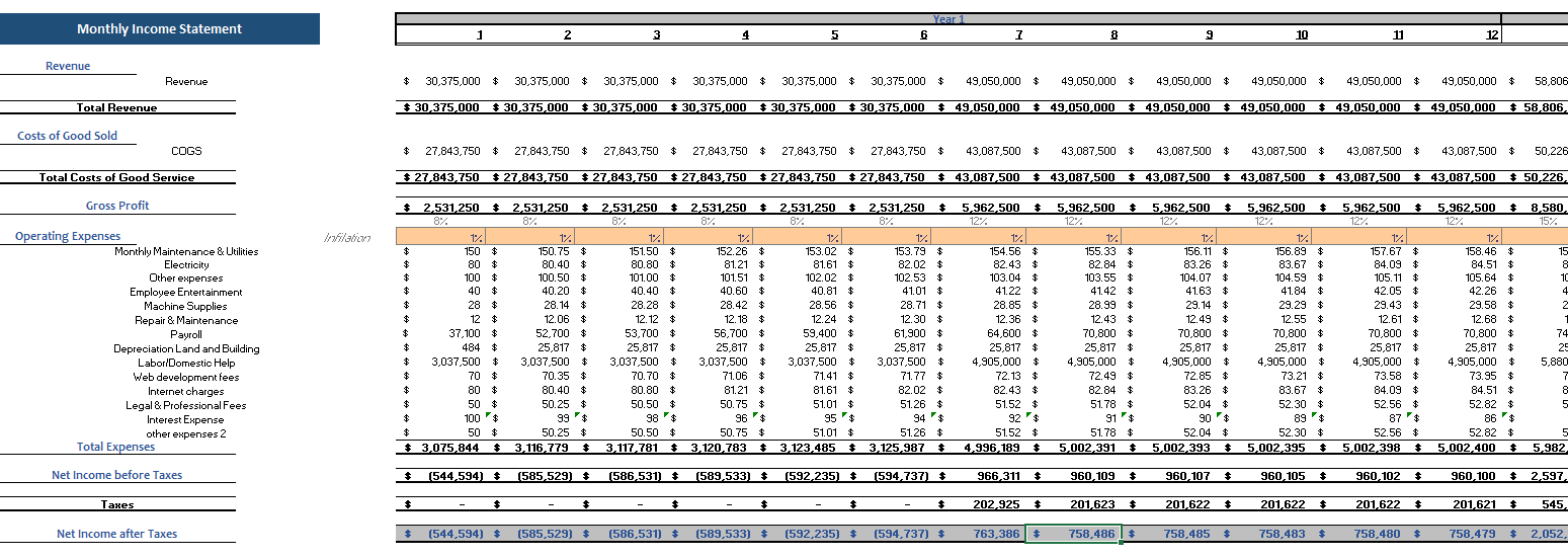 Original Equipment Manufacturer Financial Model Monthly Income Statement