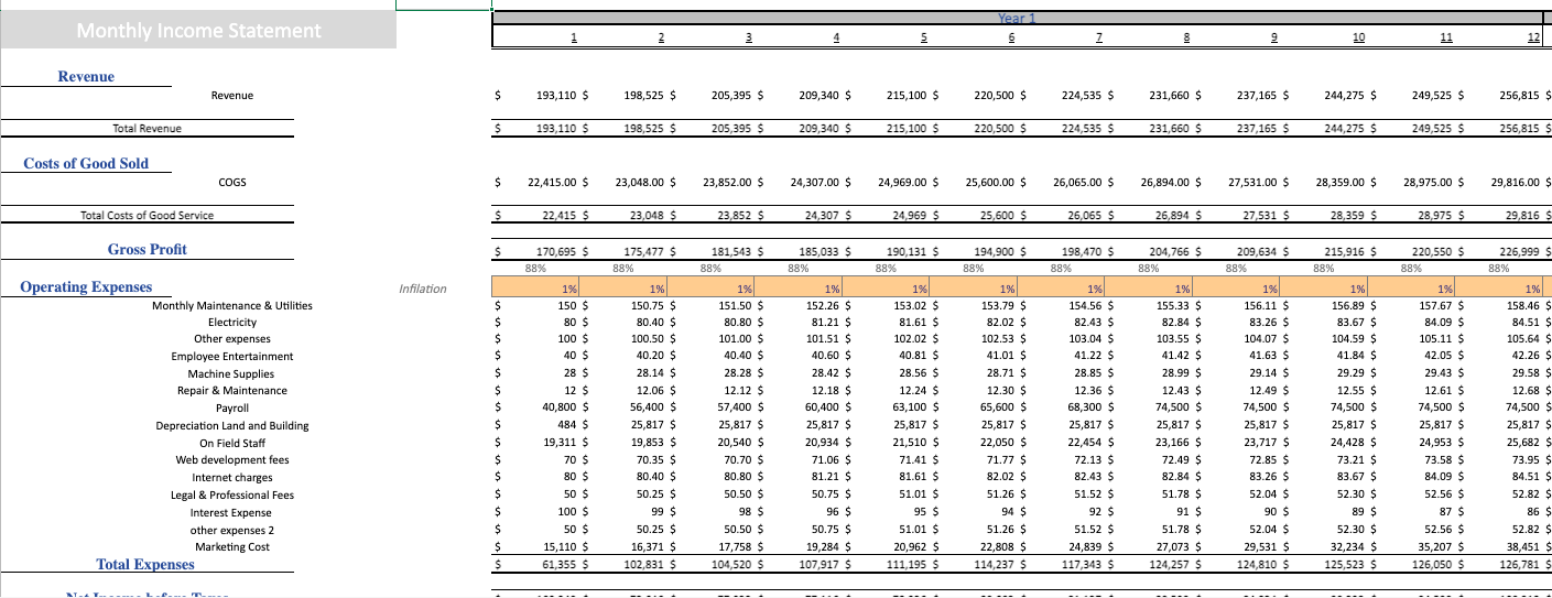 Picture Framing excel Financial Model Template income statement