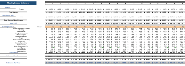 Private School Excel Financial Model Monthly Income Statement