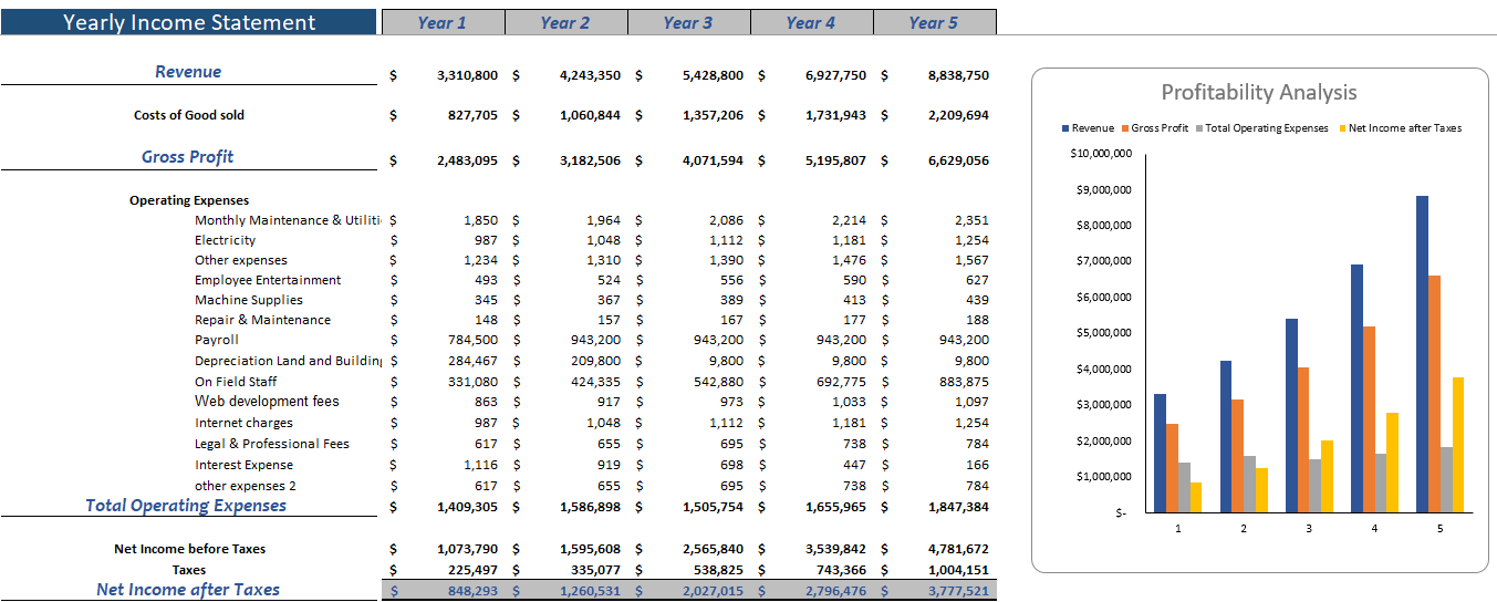 Video Production Agency Financial Model Yearly Income statement