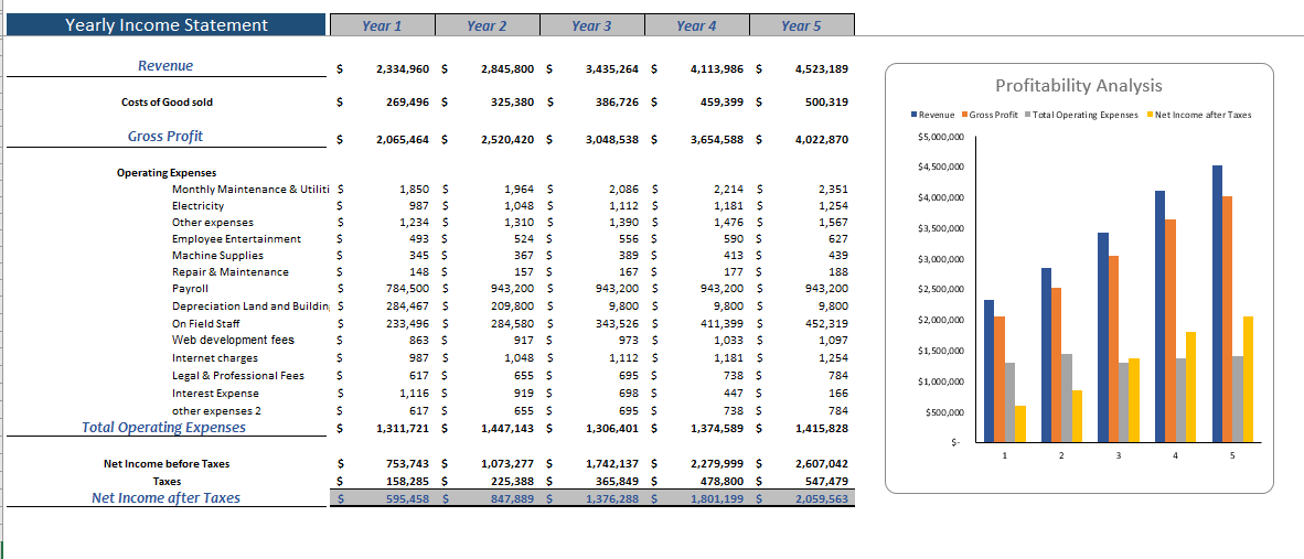 language school financial model yearly income statement