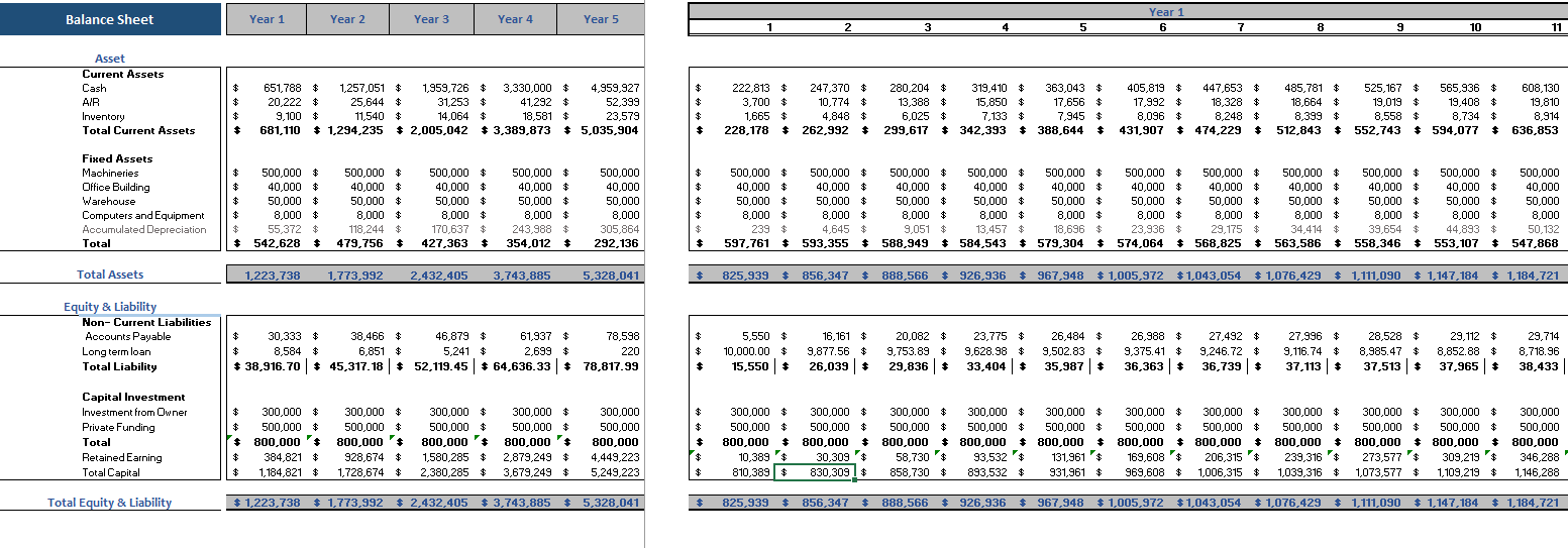 3D Bio Print Excel Financial Model Balance Sheet