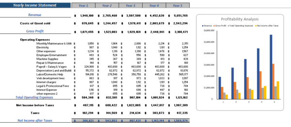 3D Bio Print Excel Financial Model Yearly Income Statement