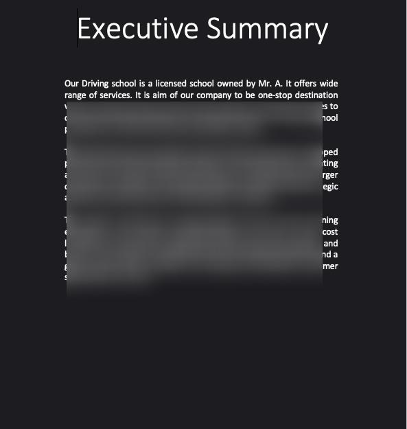 Driving School Business Plan exxecutive summary