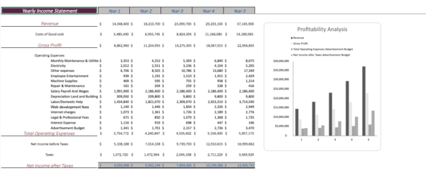 Yearly Income statement
