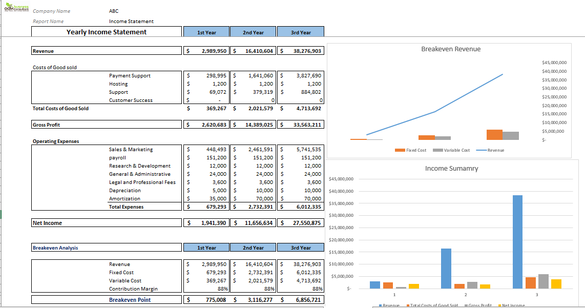Fintech Excel Financial Model Yearly Income Statement