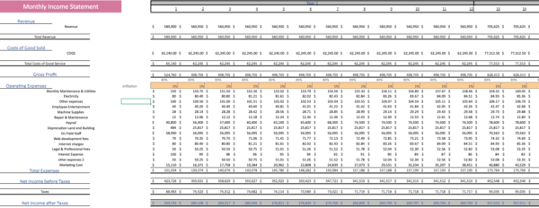 Monthy Income statement