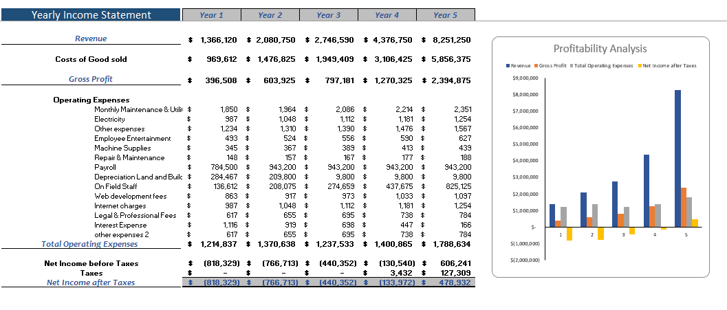Personal Trainer Excel Financial Model Yearly Income Statement