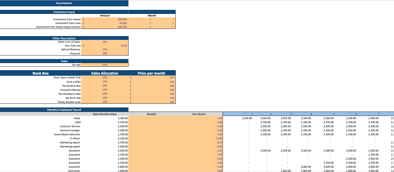 Book Subscription Excel Financial Model Template input