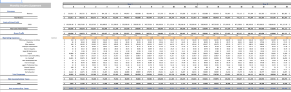 Fitness Subscription Excel Financial Model Template Monthly income statement